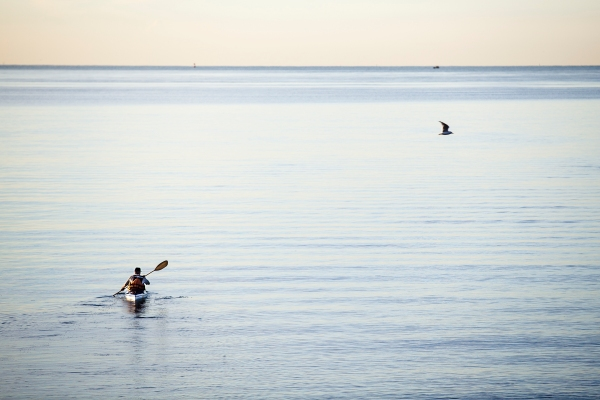 Early morning canoe in the lower New York Bay
