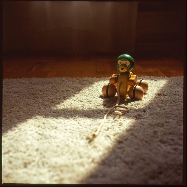 A child's toy sits bathed in light on a rug