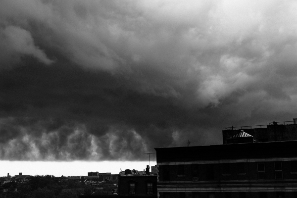 A severe storm darkens the skies over Brooklyn NY, Black and White photo